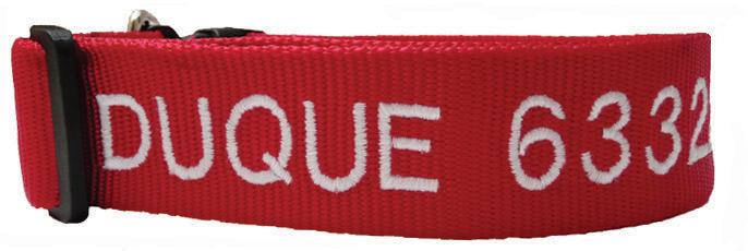 Collar Nylon Extra Grande para perro (XL) - personalizados con nombre y teléfono. (Rojo - Azul - Negro)