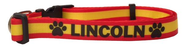 Collar para perro Estampado con la bandera de España - personalizados con nombre y teléfono.