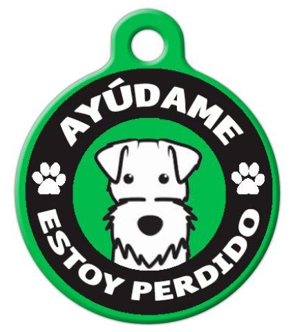 Placa para perro con diseño de ayúdame estoy perdido modelo redonda, Varios Colores