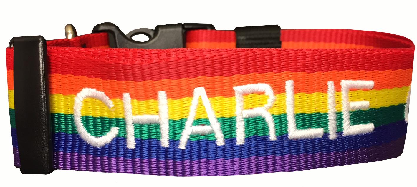 Collar para perro de Nylon con la Bandera de la amistad (Arco Iris, LGBT)