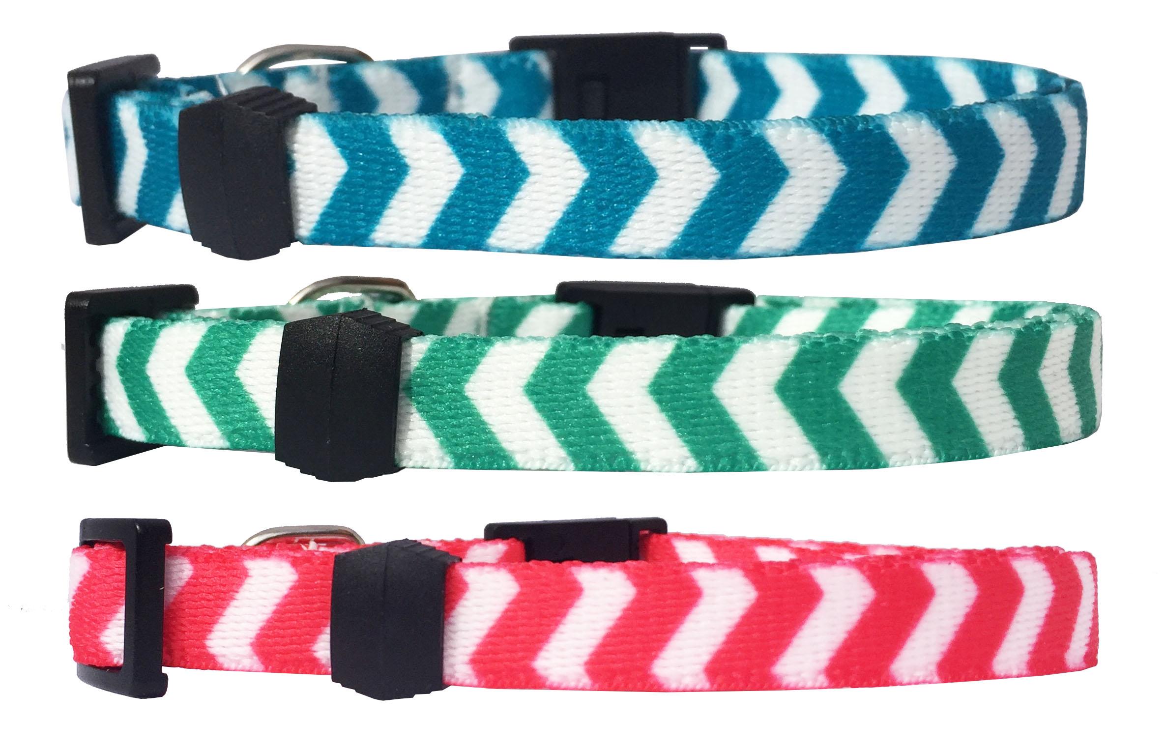 Collar para gato Estampado Chevron de Nylon ( Azul Turquesa - Verde - Coral ) - personalizados con nombre y teléfono.
