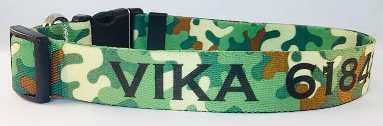 Collar para perros Estampado Camuflado Verde - personalizados con nombre y teléfono.