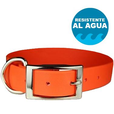 Collar Dogout para perro de goma, Impermeable, anti-olores de color Naranja - personalizable con nombre y teléfono.