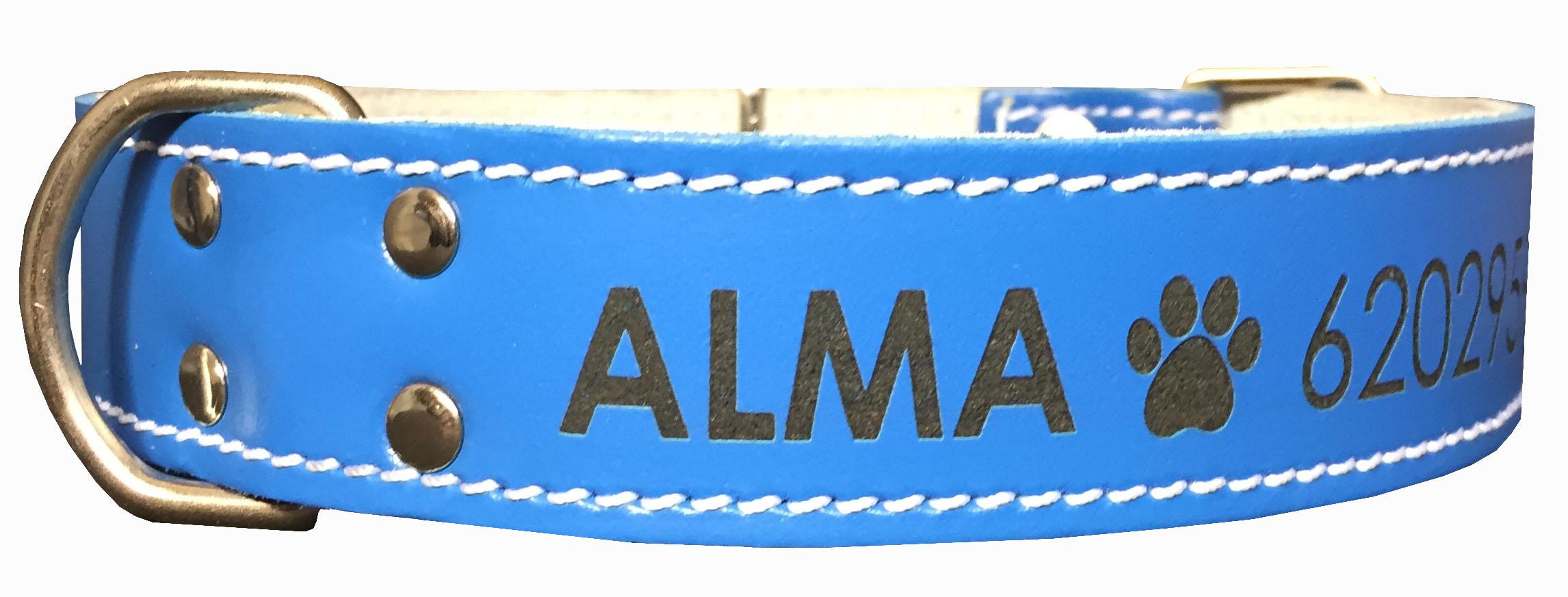 Collar para perro de Piel Doble Capa Azul  - personalizados con nombre y teléfono. (XL-XXL)